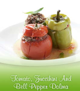 Tomato, Zuccihini And Bell Pepper Dolma